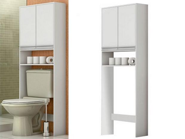 Móveis funcionais ajudam a aproveitar melhor pequenos espaços  Italian Leather -> Armario Banheiro Encaixe Coluna Pia